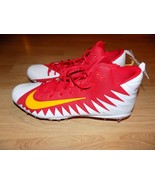 Size 18 Nike Alpha Menace Pro Mid Football Cleats Shoes Red White Yellow... - $48.00