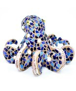 Barcino Hand Painted Classic Blue Mosaic Octopus Marine Ocean Figure 34906 - £19.41 GBP