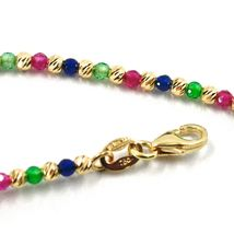 18K YELLOW GOLD BRACELET FACETED WORKED 2mm BALLS, BLUE GREEN RED CUBIC ZIRCONIA image 4