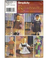Simplicity 5517 Sewing Pattern, Size A 1/2, 1, 2, 3, 4 for Toddlers, Ren... - $29.69