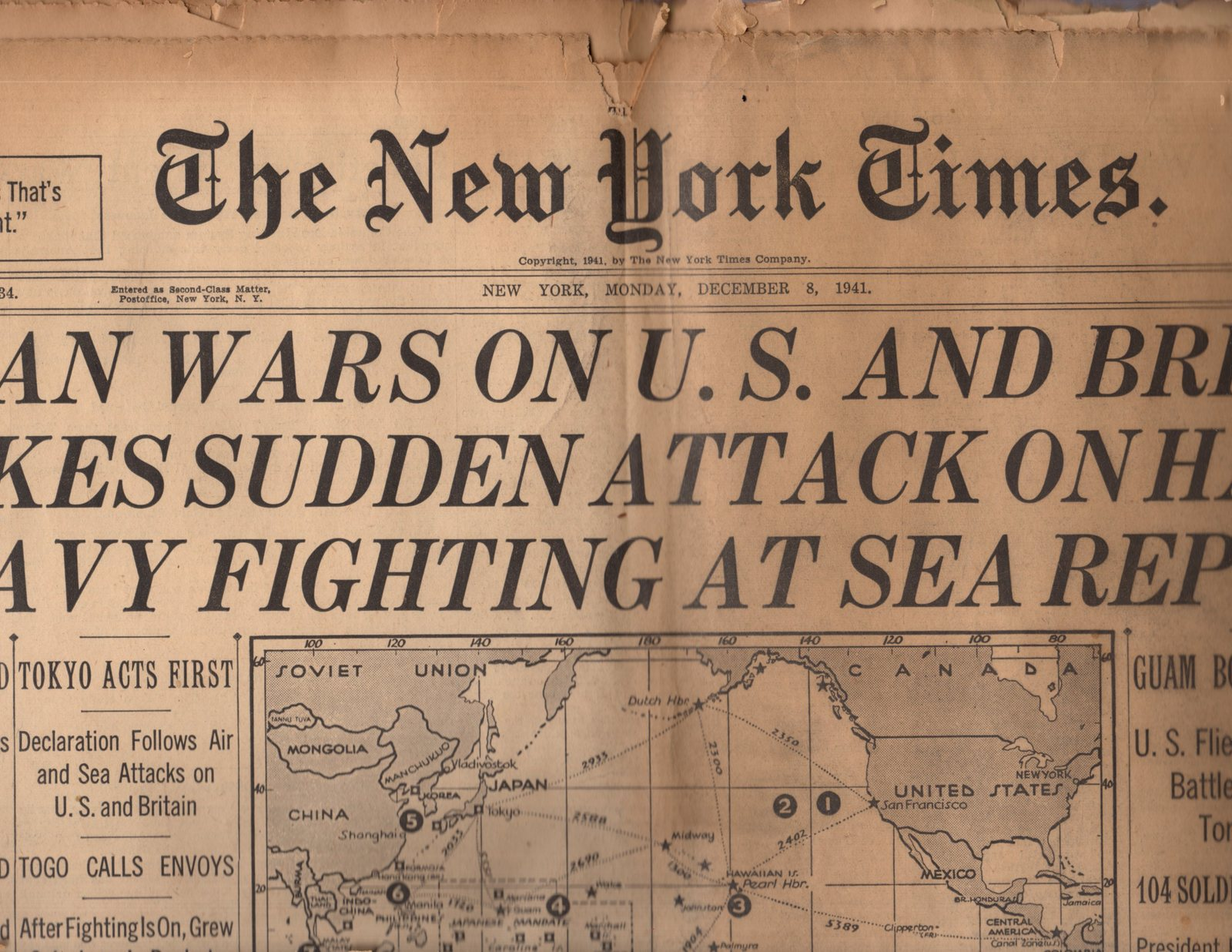 The New York Times, Newspaper, Monday, December 8,1941 ( Section One)