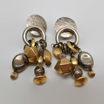 Vintage Marjorie Baer SF Silver & Gold Tone Clip Dangle Earrings - $35.64