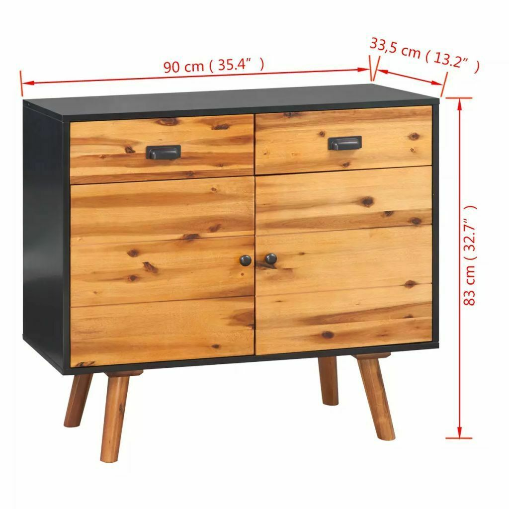 vidaXL Solid Acacia Wood 2 Door 2 Drawer Sideboard Side Cabinet Storage Chest image 7