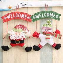 Hanging Door Decoration Christmas Ornament Santa Claus Snowman Welcome H... - $9.72