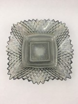 Federal Glass TRADITIONS Smoke Blue Gray Square Candy Dish Bowl Diamond Ruffle - $9.46