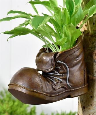 """7.7"""" Old Garden Boot Design Planter with Boot Lace Accent  Polyresin Brown"""
