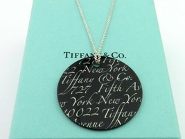 Authentic TIFFANY & CO Sterling Silver Black Bone Notes Round Pendant Necklace - $143.38