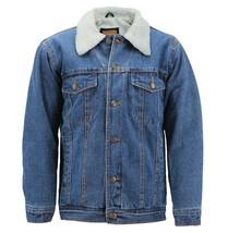 Men's Classic Button Up Sherpa Fleece Lined Cotton Denim Trucker Jean Jacket image 2
