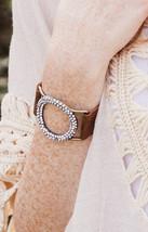 Brushed Leather Round Rhinestone Cuff Bracelet - $14.00