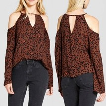 Mossimo Supply Co Leopard Print Cold Shoulder Long Sleeve Blouse Sizes S... - $3.99