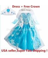 Kids Girls Dress Frozen Elsa Anna Party costume Princess + Free Crown 2-10Y - $12.99 - $13.99