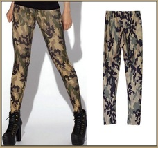 Casual Comfortable Wear Skin Tight Stretch Army Green Camo Print Pants Legging image 3
