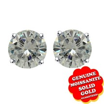 1/4 Ct Off White Genuine Moissanite 10K Solid White Gold Solitaire Stud ... - $61.99