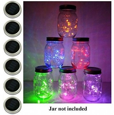 6 Pack Mason Jar Lights, 10 LED Solar Multi-colored Fairy String Lights Lids - $48.22