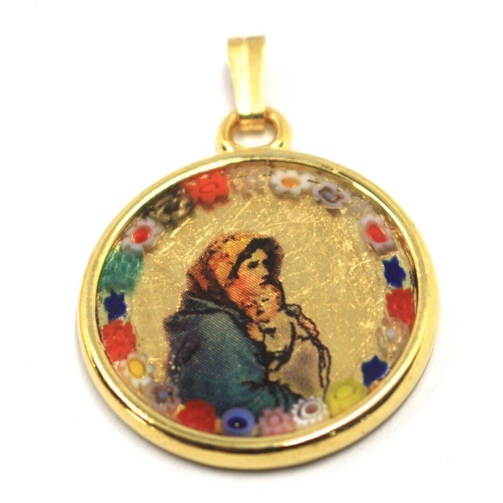 MURANO GLASS ROUND MEDAL PENDANT VIRGIN MARY JESUS, 25mm FLOWER FRAME GOLD LEAF