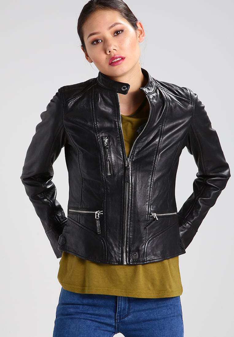 New Women's  Genuine Soft Lambskin Leather Fit Motorcycle  Biker Jacket -64