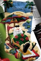 Bucilla Coolin It Santa Summer Beach Vacation Christmas Felt Stocking Kit 86105 - $156.95