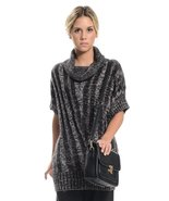 Short sleeve cowl neck multi black brown sweater - $16.99