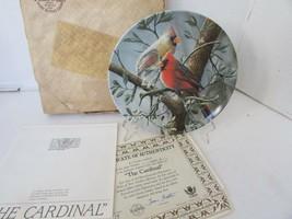 KNOWLES COLLECTOR PLATE THE CARDINAL BIRDS OF YOUR GARDEN 6021 COA & BOX - $5.89