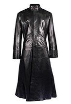 Mens Matrix Keanu Revees Neo Black Long Length Gothic Leather Trench Coat image 1