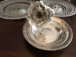 2 large cake stands with silver plated bases and large serving bowl Wilc... - $49.49