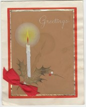 Vintage Christmas Card Candle and Holly Painted Gold Trim Red Ribbon - $6.92