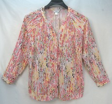 CJ BANKS Women's Long Sleeve 100% Rayon Shirt Top Multi-Color Print 1X Plus - $19.99