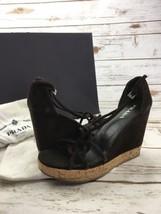 Women Prada Wedge Brown Suede Covered Platform Sandal Cork Strappy 8.5 3... - $233.72