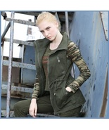 Army Green Cotton Denim Zip Up With Adjustable Drawstring Waist Vest Ja... - £55.56 GBP