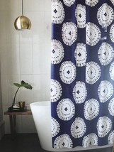 Project 62 Shower Curtain Blue Medallion Cotton Geo Bathroom New White - $13.49