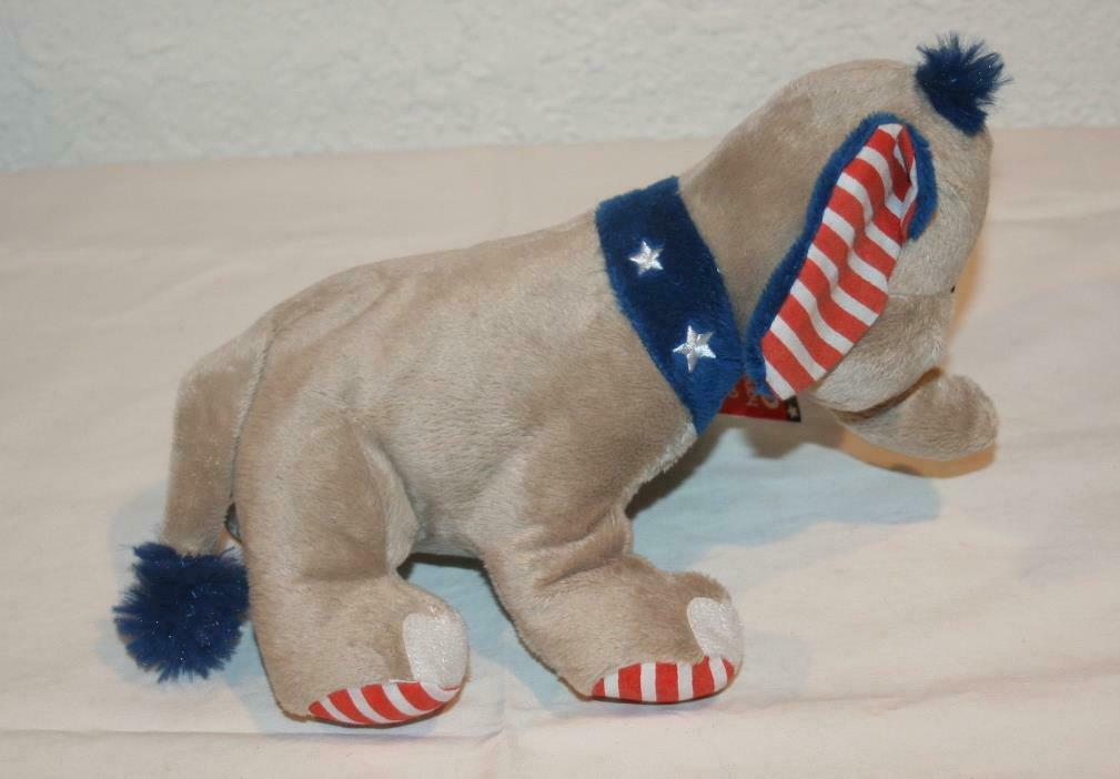 NWT GANZ Elephant H11969 Gray Blue NEW Stuffed Patriotic / Stars and Stripes image 3