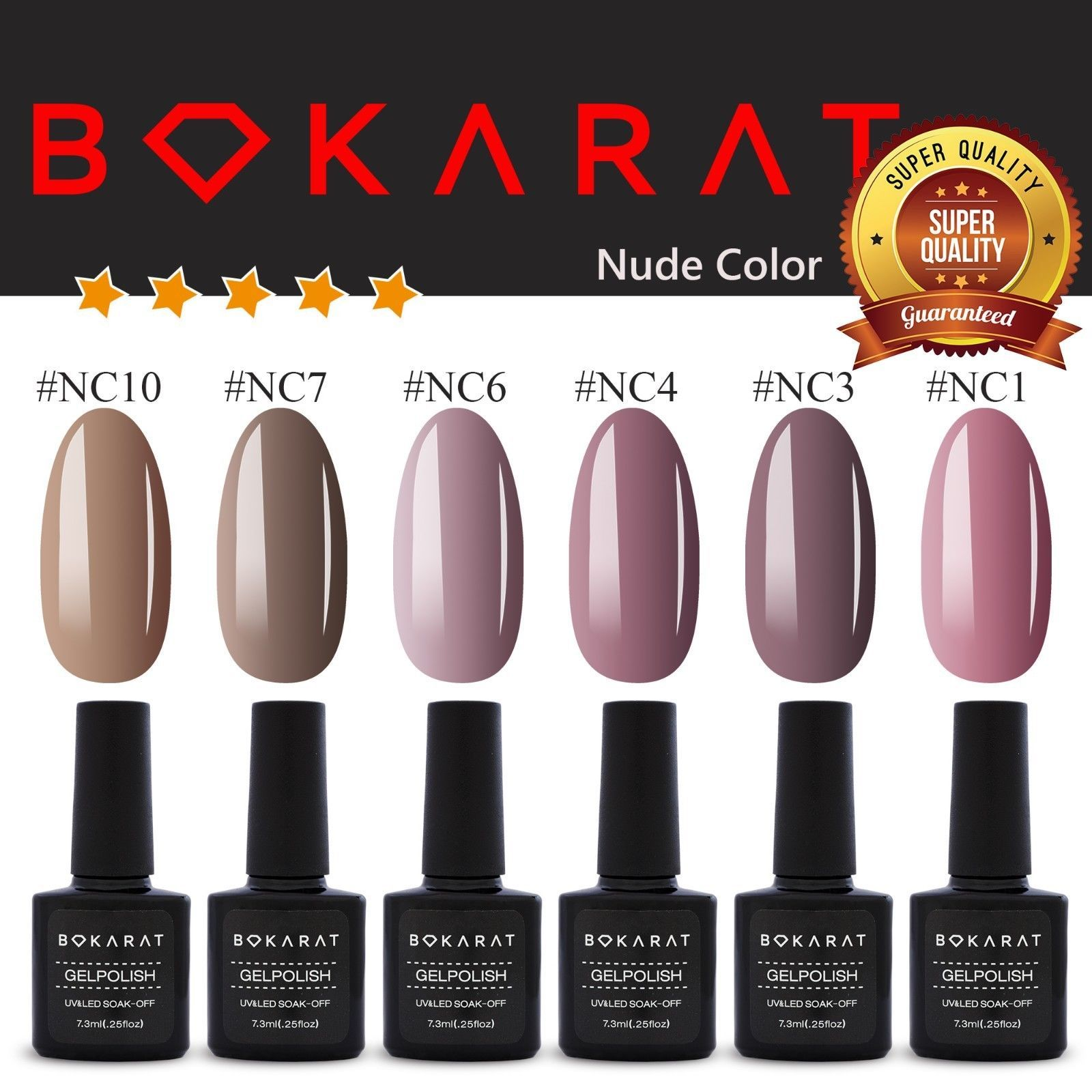 Gel Nail Polish ~Nude Color~ 7.3 ml Soak Off UV LED ~High Quality~ Bokarat