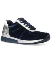 Michael Kors MK Women's Premium Allie Trainer Suede Sneakers Shoes Admiral