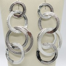 Drop Earrings Silver 925 with Circles Worked by Maria Ielpo , Made in Italy image 1
