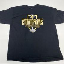 Penguins 2016 Stanley Cup T Shirt Mens XL Short Sleeve Black Casual G34 - $17.99