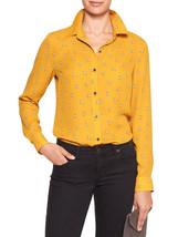 Banana Republic Factory Print Drapey Classic Shirt, Polyester, Mustard, L, NWT - $51.29