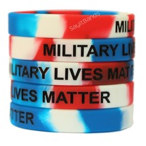 5 Military Lives Matter Debossed Color Filled Wristbands Red White and Blue - $6.81