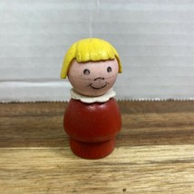 Vintage Fisher-Price Little People Girl Red Wood Body & Plastic Blonde H... - $10.99