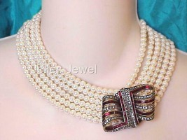 "Heidi Daus Ribbon Candy 6-Row Cream Beaded Crystal 17""L Necklace - $134.60"