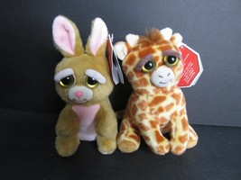 2 fiesty pets William Mark Feisty Pets Plush clip keychain giraffe bunny... - $21.78