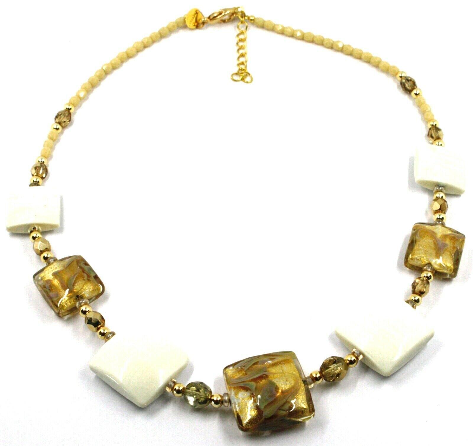 """NECKLACE WITH WHITE MURANO SQUARE GLASS & GOLD LEAF, MADE IN ITALY, 50cm, 20"""""""