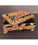 Fricke and Nacke Tin Trinket Box Footed Black Green Desert Style Western... - $12.61