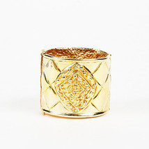 VINTAGE Chanel Gold Tone Metal Quilted Cuff Bracelet - $805.00