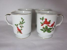 Set of 4 Lefton China Cardinal Coffee Mugs Cups Gold Trim #04534 1984 Ch... - $29.69
