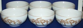 Beautiful 222 FIFTHS Fine China GOLD LEAVES Set of 6 Soup/Cereal Bowls - $38.75