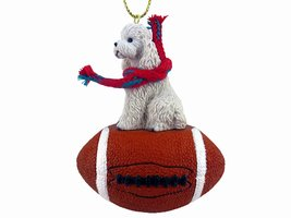 Poodle White w/Sport Cut Football Ornament - $17.99