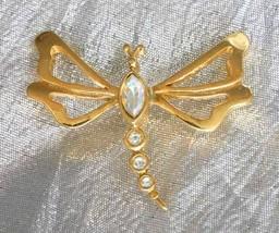 "Elegant Avon Iridescent Rhinestone Gold-tone Dragonfly Pin 1970s vintage 1 1/2"" - $12.30"
