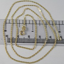 18K YELLOW GOLD CHAIN MINI OVAL FLAT LINK 1 MM WIDTH 15.75 INCHES MADE I... - $115.00