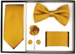 Berlioni Men's Handmade Microfiber Tie Bowtie Lapel Hanky Cufflinks Gift Box Set image 6