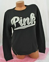 Victorias Secret PINK Side-Zip Perfect Crew sweatshirt, Black gray applique - $49.95